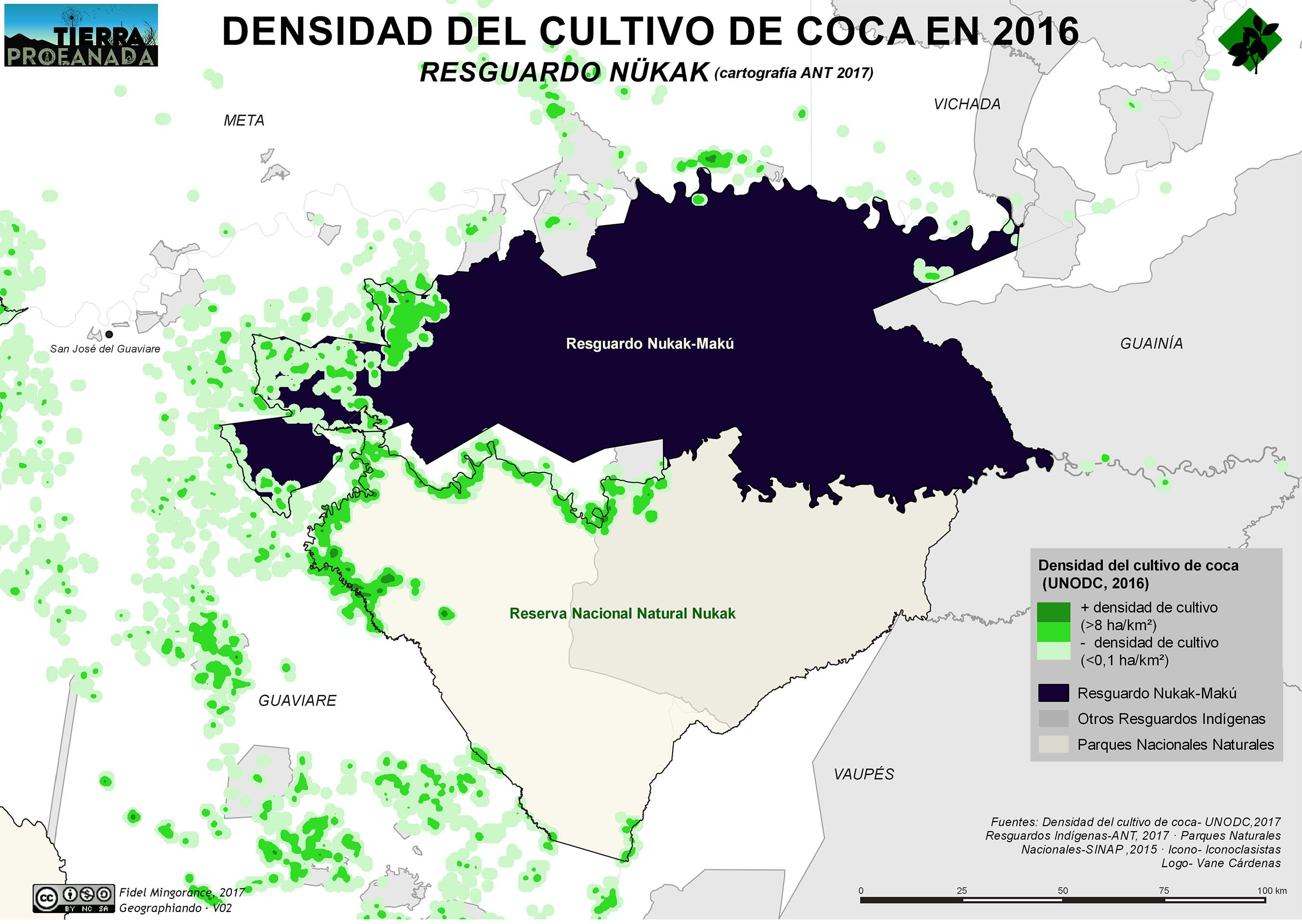 densidad cultivo coca en resguardo nukak 2016