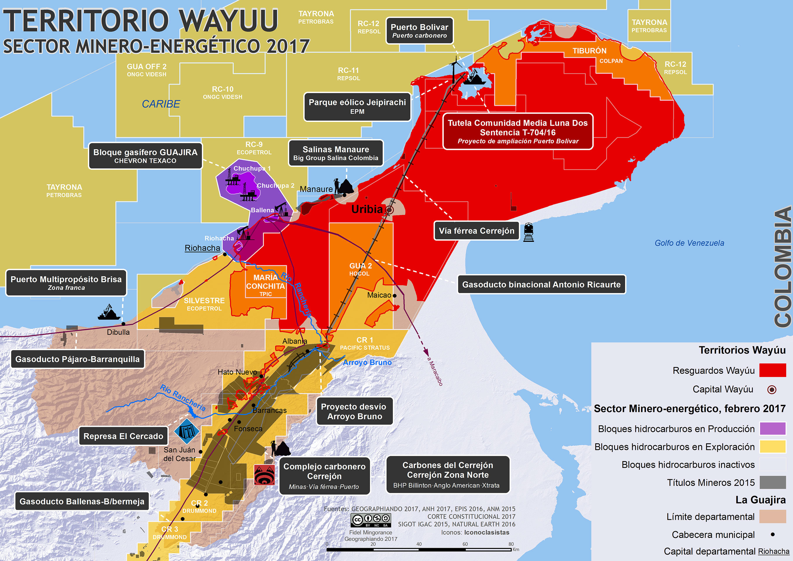 Territorios WAYUU y proyectos minero-energeticos (2017)