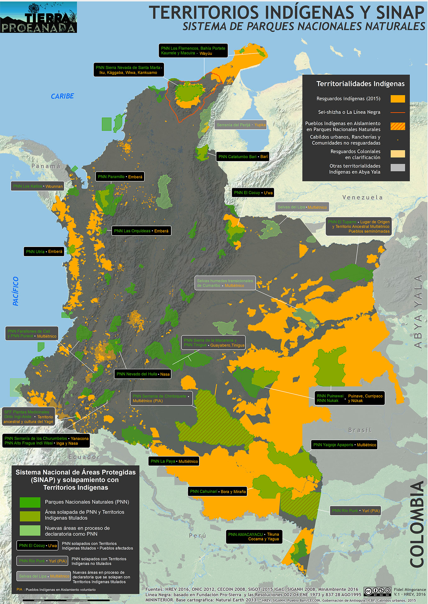 Territorios indigenas y solapamiento sistema nacional ambiental 2016