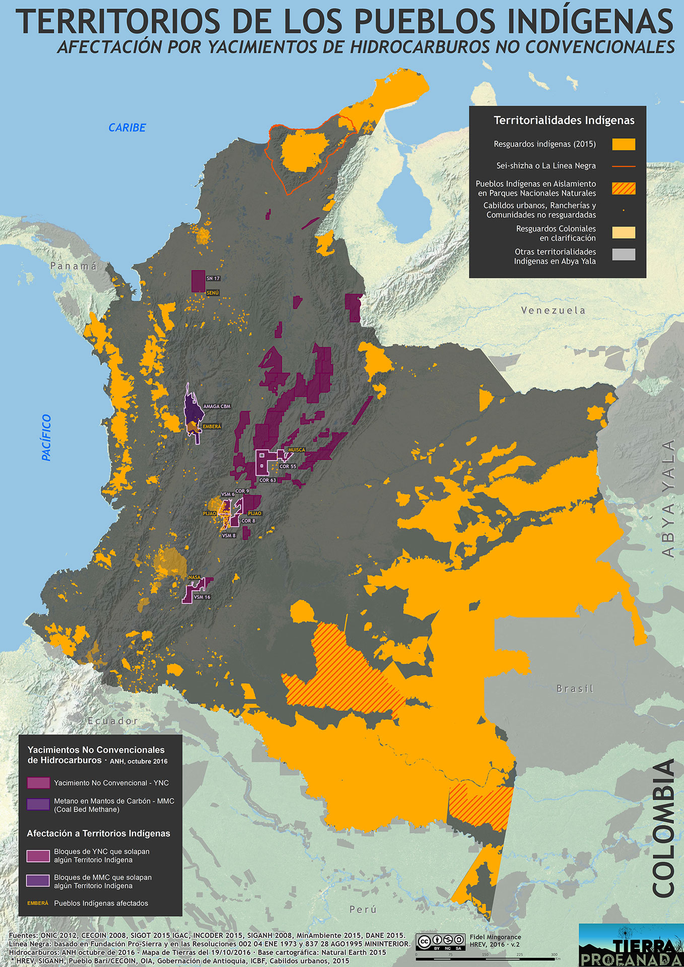 Territorios indigenas y yacimientos no convencionales hidrocarburos 2016